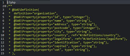 Les directives de Swagger sont entrées par le biais de commentaires dans le code PHP
